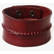Кожаный широкий премиум браслет Леонардо бордовый