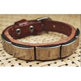 Кожаный премиум браслет с металлическими пластинами Доспехи коричневый