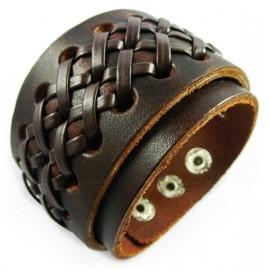 Кожаный широкий премиум браслет Темный Рыцарь коричневый