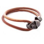 Кожаный премиум браслет с застежкой в виде черепа светло-коричневый