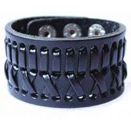 Кожаный широкий премиум браслет Джокер черный