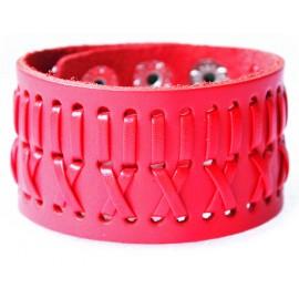 Кожаный широкий премиум браслет Джокер красный