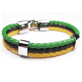 Кожаный плетеный яркий премиум браслет Ямайка