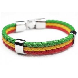 Кожаный плетеный яркий премиум браслет Боливия