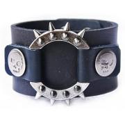 Кожаный широкий премиум браслет Властелин черный