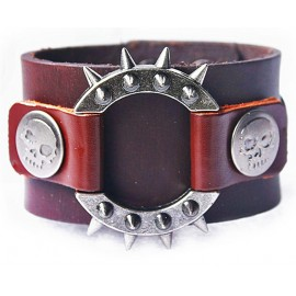 Кожаный широкий премиум браслет Властелин коричневый