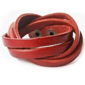 Кожаный оригинальный премиум браслет Фор коньячный