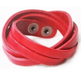 Кожаный оригинальный премиум браслет Фор красный