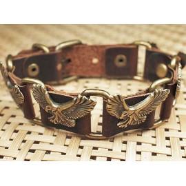 Кожаный оригинальный премиум браслет Орел коричневый