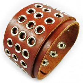 Кожаный широкий премиум браслет Империя коричневый