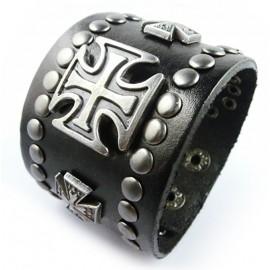 Кожаный широкий премиум браслет Король черный