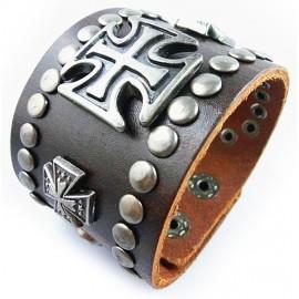 Кожаный широкий премиум браслет Король коричневый