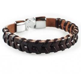 Кожаный плетеный премиум браслет Венеция коричневый