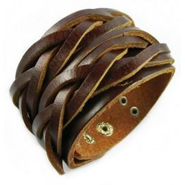 Кожаный широкий премиум браслет Нирвана коричневый