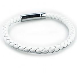 Кожаный плетеный премиум браслет Змейка на магнитной защелке белый