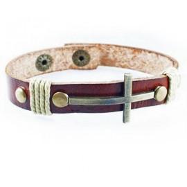 Кожаный оригинальный премиум браслет Латинский Крест коричневый