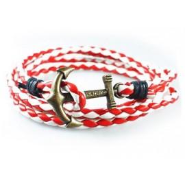 Кожаный плетеный яркий премиум браслет Якорь Kiel James Patrick разноцветный