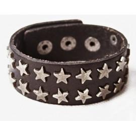 Кожаный широкий оригинальный премиум браслет Рок Звезда