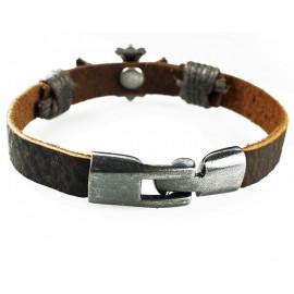 Кожаный оригинальный премиум браслет Магический Крест коричневый