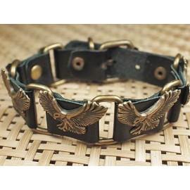 Кожаный оригинальный премиум браслет Орел черный