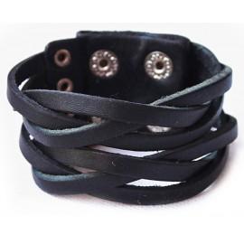 Кожаный широкий премиум браслет Охотник черный