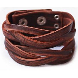 Кожаный широкий премиум браслет Охотник коричневый