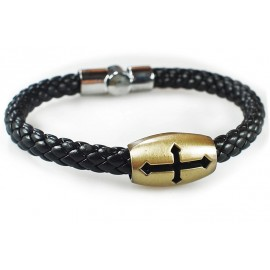 Кожаный плетеный премиум браслет Крест