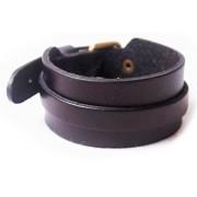 Кожаный широкий премиум браслет Бэтмен Batman черный