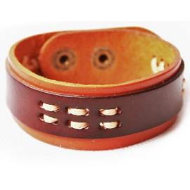 Кожаный широкий премиум браслет Рим коричневый