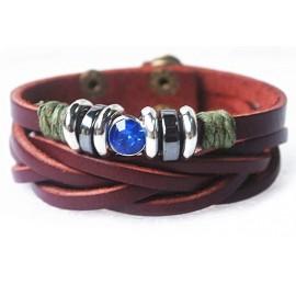 Кожаный оригинальный премиум браслет Синий Кристал