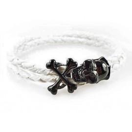 Кожаный плетеный премиум браслет Пираты белый