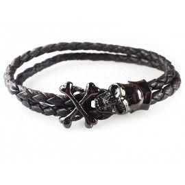 Кожаный плетеный премиум браслет Пираты коричневый