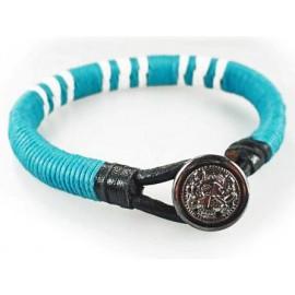 Кожаный яркий премиум браслет Пуговица от Сглаза голубой