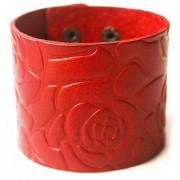 Кожаный широкий яркий премиум браслет с цветами Розы темно-красный