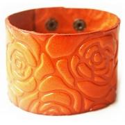 Кожаный широкий яркий премиум браслет с цветами Розы оранжевый