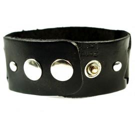 Кожаный широкий премиум браслет Мистика черный