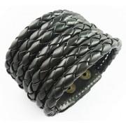 Кожаный широкий премиум браслет Азарт черный