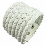Кожаный широкий премиум браслет Азарт белый