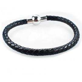 Кожаный плетеный премиум браслет на магнитной защелке Сфера черный