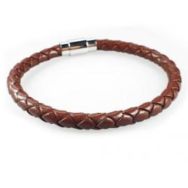Кожаный плетеный премиум браслет на магнитной защелке Эдриан коричневый