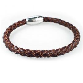 Кожаный плетеный премиум браслет Одиссей на магнитной защелке коричневый