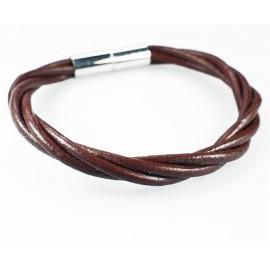 Кожаный плетеный премиум браслет на магнитной защелке Эффект коричневый
