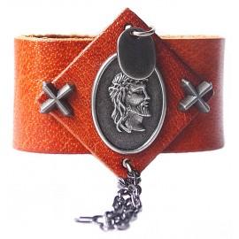 Кожаный широкий премиум браслет Храбрый Воин коричневый