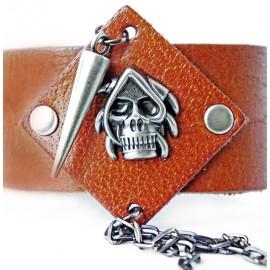 Кожаный широкий премиум браслет Орки коричневый