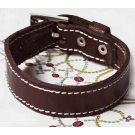 Кожаный премиум браслет Детройт коричневый