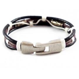 Кожаный плетеный премиум браслет Лара Крофт коричневый с белым