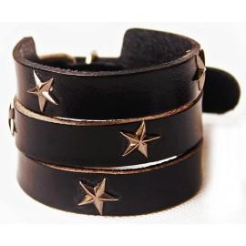 Кожаный широкий премиум браслет со звездами Америка