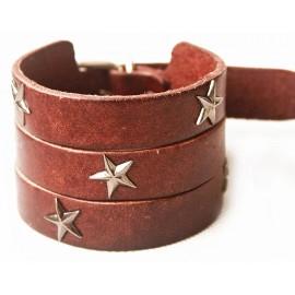 Кожаный широкий премиум браслет со звездами Америка коричневый