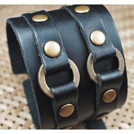 Кожаный широкий премиум браслет Рыцарь