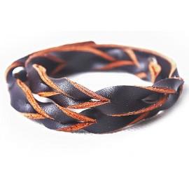 Кожаный оригинальный премиум браслет Лиана коричневый